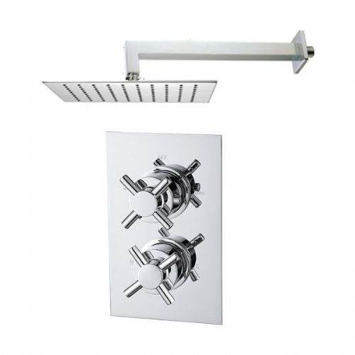 Abacus Emotion Thermostatic Cross Head Concealed Shower Mixer With Square Head - Chrome